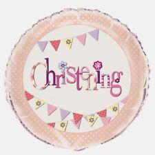 "18"" FOIL BALLOON WHITE & PINK  CHRISTENING - BUNTING DESIGN"