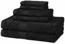 AmazonBasics 6-Piece Fade-Resistant Bath Towel Set - Black 6-Piece Set