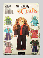 "Simplicity 1580 / 7083 Pattern - American made - for 18"" girl dolls -New Uncut!"