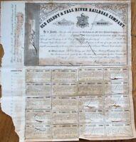 Old Colony & Fall River Railroad Company 1856 Bond Certificate #48 - MA Mass