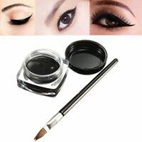 Pro Waterproof Eye Liner Liquid Eyeliner Shadow Gel Makeup Cosmetic+ Brush Black