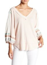 NWT Free People Thermal Waffle Bubble Shirt Embroidered Top Ballet Pink XS S