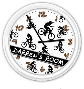 BMX Bike Freestyle Wall Clock PERSONALIZED - Kids Boys Cycle Bedroom Decor GIFT