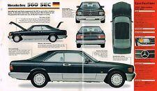 MERCEDES-BENZ 560 SEC SPEC SHEET / Brochure / Prospekt: 1986,1987,1988, 560SEC