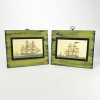 "Vintage Nautical Ship Wall Art Pair  11.5"" X 10 Each"