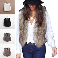 Women Faux Fur Waistcoat Gilet Sleeveless Jacket Coat Outwear Short Fashion Vest
