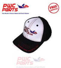 PWC Parts Hat Black White Red Stitching Mid-Profile Mesh SeaDoo Yamaha Adj Cap
