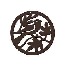 Sculpté bois rond passereau arbre pendentif 50mm noir Pack de 1 (M88)