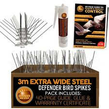 Defensor de Acero Extra Ancho Paloma & Bird picos   3 M   Pegamento   control de pájaros guía