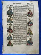Altkoloriertes Blatt LII, Schedel Weltchronik 1493, Nürnberg, KÖNIGE DER JUDEN