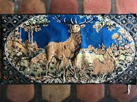 "Vintage Made In Italy 20"" X 38"" Deer Stag Fawn Reindeers Tapestry Velvet Forest"