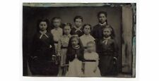 9 GIRLS WEARING DRESSES WITH BOW TIES ANTIQUE TINTYPE 1/6 PLATE
