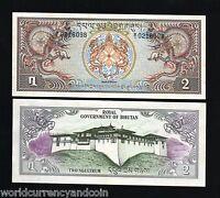 BHUTAN 2 NGULTRUM P-6 1981 X 1 DRAGON UNC DZONG LARGE SIZE MONEY BILL BANK NOTE