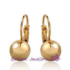 9K Yellow / White GOLD GF Womens High Polished Ball HOOP EARRINGS TE102 2 COLORS