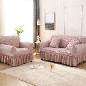 Universal Sofa Cover with Skirt Stretch 1 2 3 4 Seater Slipcover Couch Covers