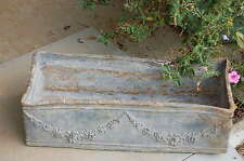 Rare Old Antique French Barbola Lead Planter Box Roses Swags