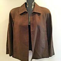 Talbots Women's XL Brown Blazer Jacket Open Front Pure Irish Linen Crop Collar