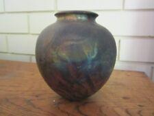 Raku by Fran Kernich glazed clay vase pot