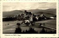 Weißenstein Bayern Burg-Ruine alte s/w AK mit Bahnpost-Stempel Zug 1934 gelaufen