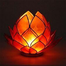 Photophore Lotus en nacre Capiz - Orange - Porte bougie - Bougeoir Grand Modèle