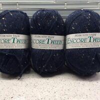 Plymouth Yarn Encore Tweed 5854 Navy Blue Skeins Lot Of 3 Wool Acrylic Rayon