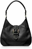 $298 MICHAEL KORS Women's Lillian Black Leather Gold Stud Buckle Shoulder Bag