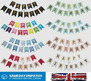 HAPPY BIRTHDAY BUNTING BANNER LETTER HANGING CARD PARTY DECORATION GARLAND