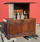 Antique Linenfold Coffer Chest Motorized Remote Controlled Hidden Bar TV Cabinet