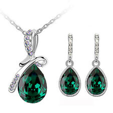 Emerald Green Angel Tear with Bow Jewellery Set Drop Earrings & Necklace S765