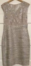 KAY UNGER Lace and Tweed Sheath Dress With Sequins Silver Metallic Size 8 NWT