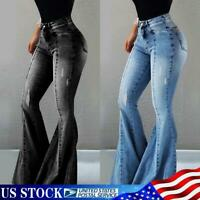 Womens Flare Long Jeans Bell Bottom Stretch Pants Slim High Waist Denim Trousers