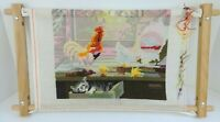 Farmhouse Needlepoint Rooster Chicken Chicks Wooden Stretcher Frame Incomplete