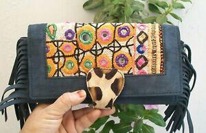 Vintage Handmade Woman Cowhide Fur Banjara Clutch Purse Boho Gypsy Wallet Gifts