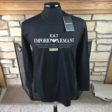 EMPORIO ARMANI EA7 LONG SLEEVE SPELL OUT SHIRT BLACK/WHITE/GOLD MENS LARGE NWT