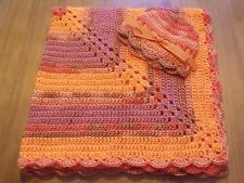 Handmade Crochet Baby Blanket/Hat Set- Shower Gift! Tangerine Orange Variegated