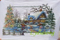 "New Completed finished cross stitch needlepoint""CHRISTMAS HOUSE""home decro gift"