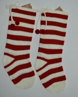 """NEW w/ Tags Pair Candy Red White Striped Christmas Stockings 21"""" Merry Christmas"""