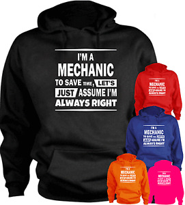 I'm A Mechanic To Save Time...  Funny Hoodie Birthday Present Gift