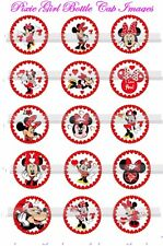Minnie Mouse Red White Heart theme 15 precut  Bottle Cap Images/cupcake toppers