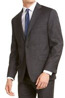Michael Kors Mens Blazer Dark Gray Size 42 Long Windowpane Classic-Fit $425 222