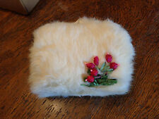VINTAGE GIRL CHILD WHITE MUFF HAND WARMER W/ FLOWERS/BERRIES EXC RABBIT??