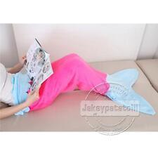 Christmas Soft Flannel Mermaid Tail Blanket Fish Bag Fleece Costume Kids Adult Rose With Blue 95*90cm(kid's)