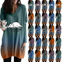 Women's Gradient Long Sleeve V-Neck T-Shirt Loose Baggy Casual Tunic Tops Blouse
