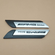 Pair Metal Silver With Black AMG Edition Badge Side Fender Emblem Sticker Decal