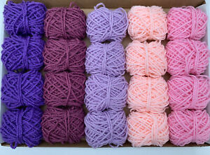 Pink Purple Yarn Wool Job Lot Knitting Crochet Pompom Crafts Toy Bundle DK