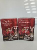 """2 Boxes of Vintage Collectible Indiana Glass 6"""" Paneled Crystal Candlesticks NIB"""