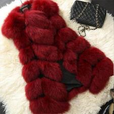 Jacket Coat Warm Gilet Outwear Vest Faux Fox Fur Womens Long Slim Waistcoat 8-16
