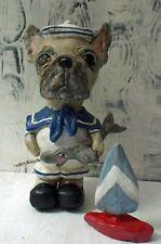 New Folk Art French Bulldog  Sword Fish Sculpted Navy Style Doll Vintage Look