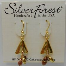 Silver Forest Shiny Gold Tone Arrow Head Shape & Dangling Bead Hook Earrings