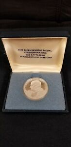 1975 BICENTENNIAL Silver medal Commemorating the Battles of Lexington and ...